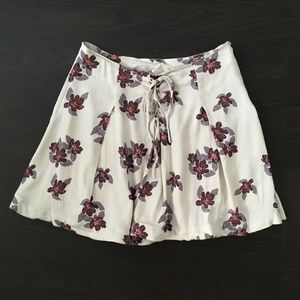 Free People Cream Floral Lace Up Mini Skirt Flowy